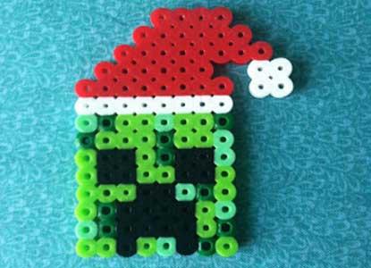 Creeper Santa Out Of Perler Beads