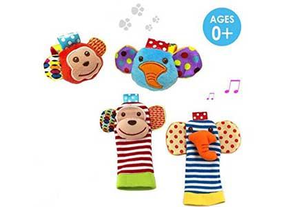 Daisy 4 x Animal Infant Baby Kids Wrist Rattle & Foot Finder Set