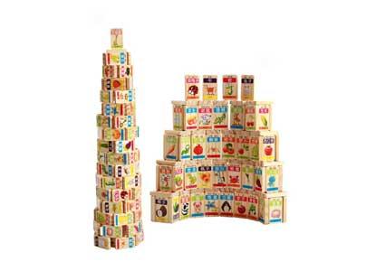 100Pcs Baby Wooden Fruit Animal Domino