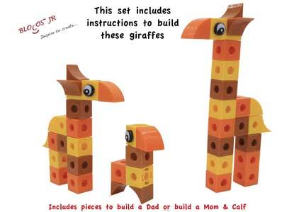 Blocos Jr Safari Collection's Giraffe Family of 3D Educational Toy Building Blocks