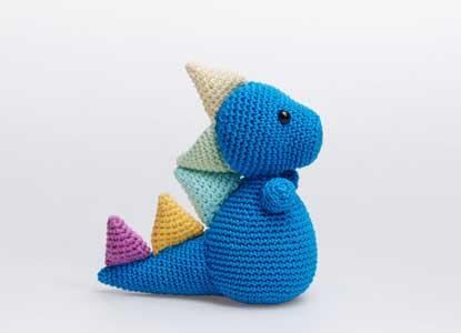 Blue Dinosaur Toy Plush Amigurumi Dino Crochet Stuffed Animal Soft Toy