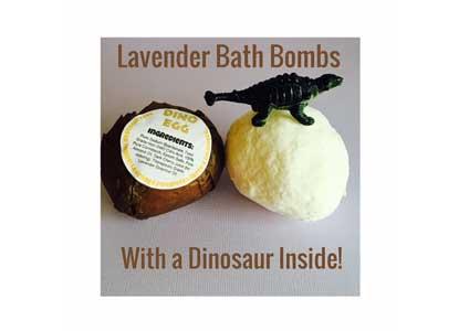 Dino Egg Kids Bath Bomb - Toy Dinosaur Lavender Essential Oil Bath Bomb Fizzie