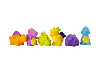 Elegant Baby Bath Time Fun Rubber Water Squirties, Dinosaur Party