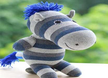 Handmade Sock Zebra Stuffed Animal