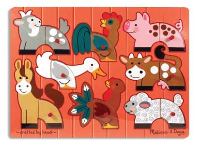 Melissa & Doug Farm Mix 'n Match Peg Puzzle