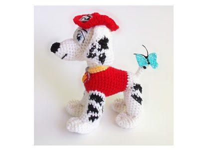 Crocheted Marshall Paw Patrol puppy