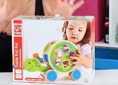 Hape Shape Sorter Wooden Turtle Pull Toy