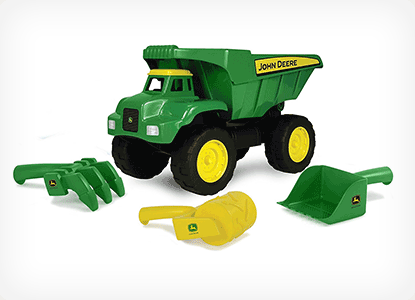 Tomy John Deere Big Scoop Dump Truck with Sand Tools