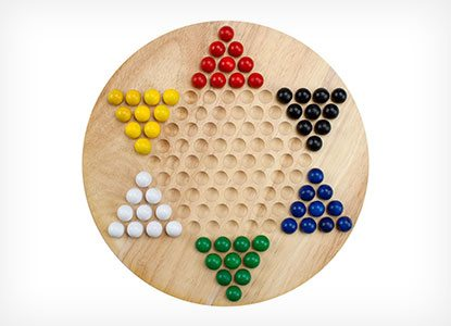 Natural Wood Chinese Checkers with Wooden Marbles