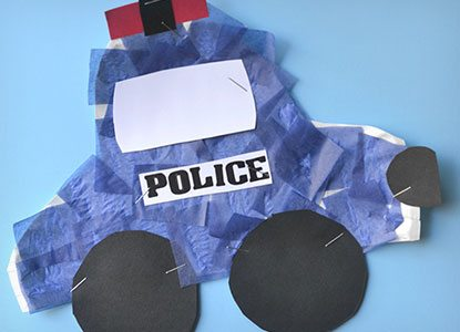 Paper Plate Police Car Kid Craft