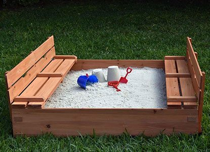 Naomi Home Kids Cedar Sandbox with Convertible Benches