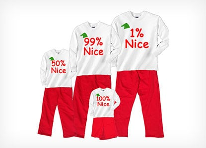 custom percentage of niceness family pajama set